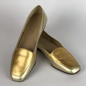Enzo Angiolino Metallic Gold Leather Flats